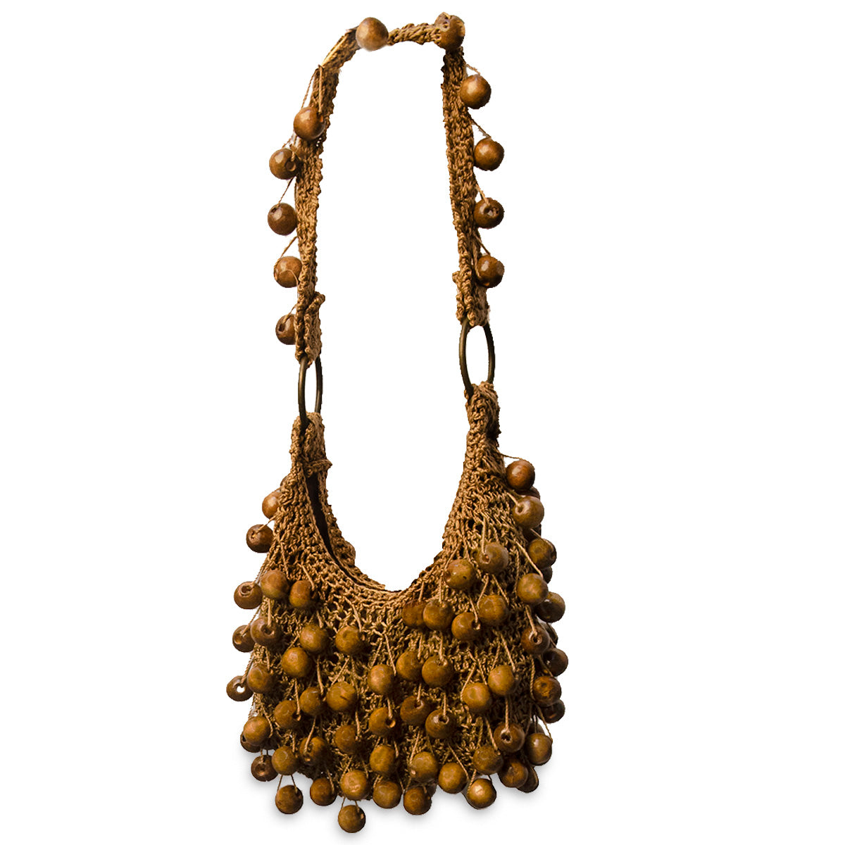 Small Brown Macrame Purse, Large Wood Beads