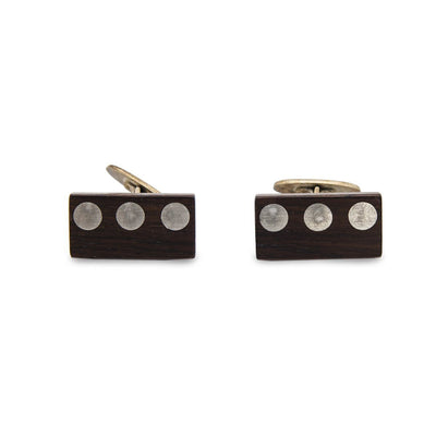 Mid Century Wood Cuff Links with Metal Inlay