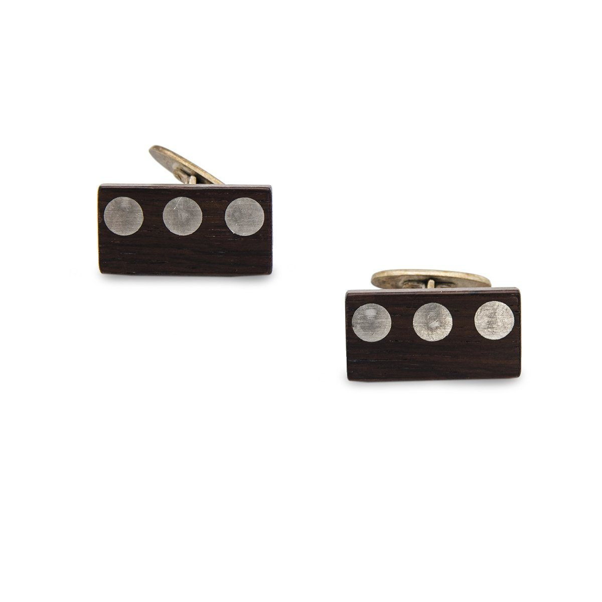 Mid Century Wood Cuff Links 6 with Metal Inlay