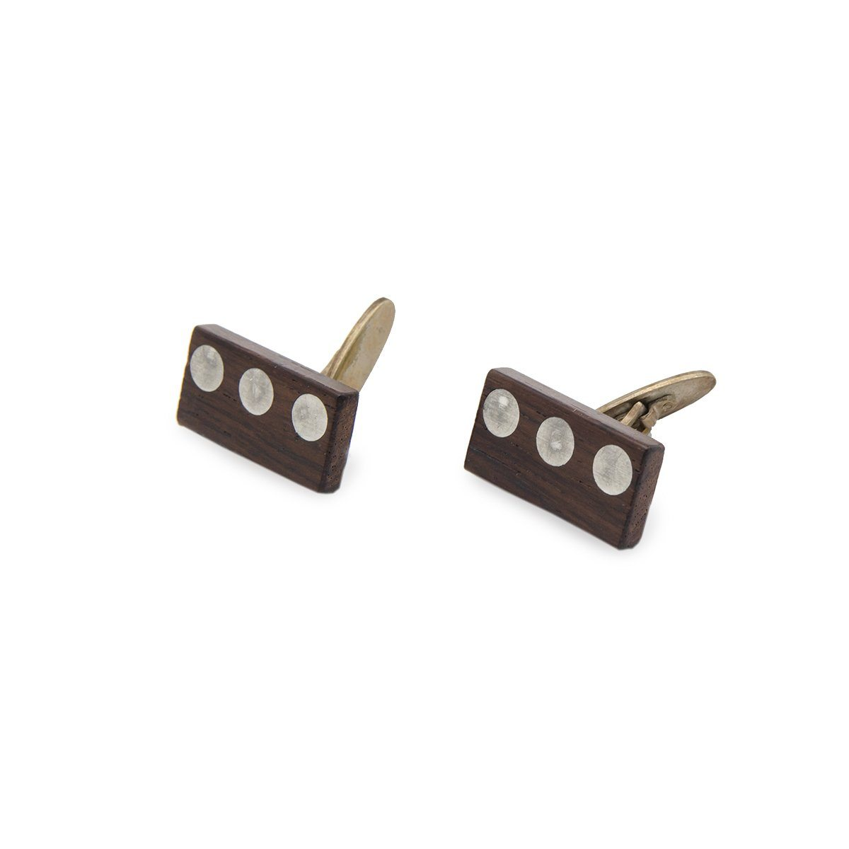 Mid Century Wood Cuff Links 2 with Metal Inlay