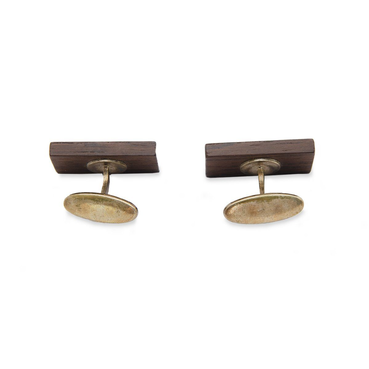 Mid Century Wood Cuff Links with Metal Inlay 3