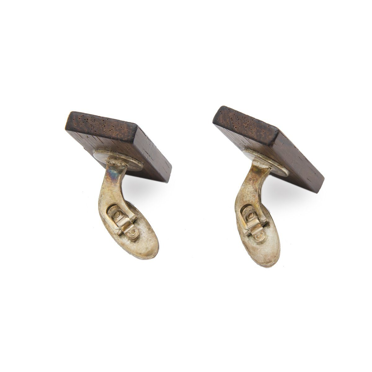 Mid Century Wood Cuff Links 4 with Metal Inlay