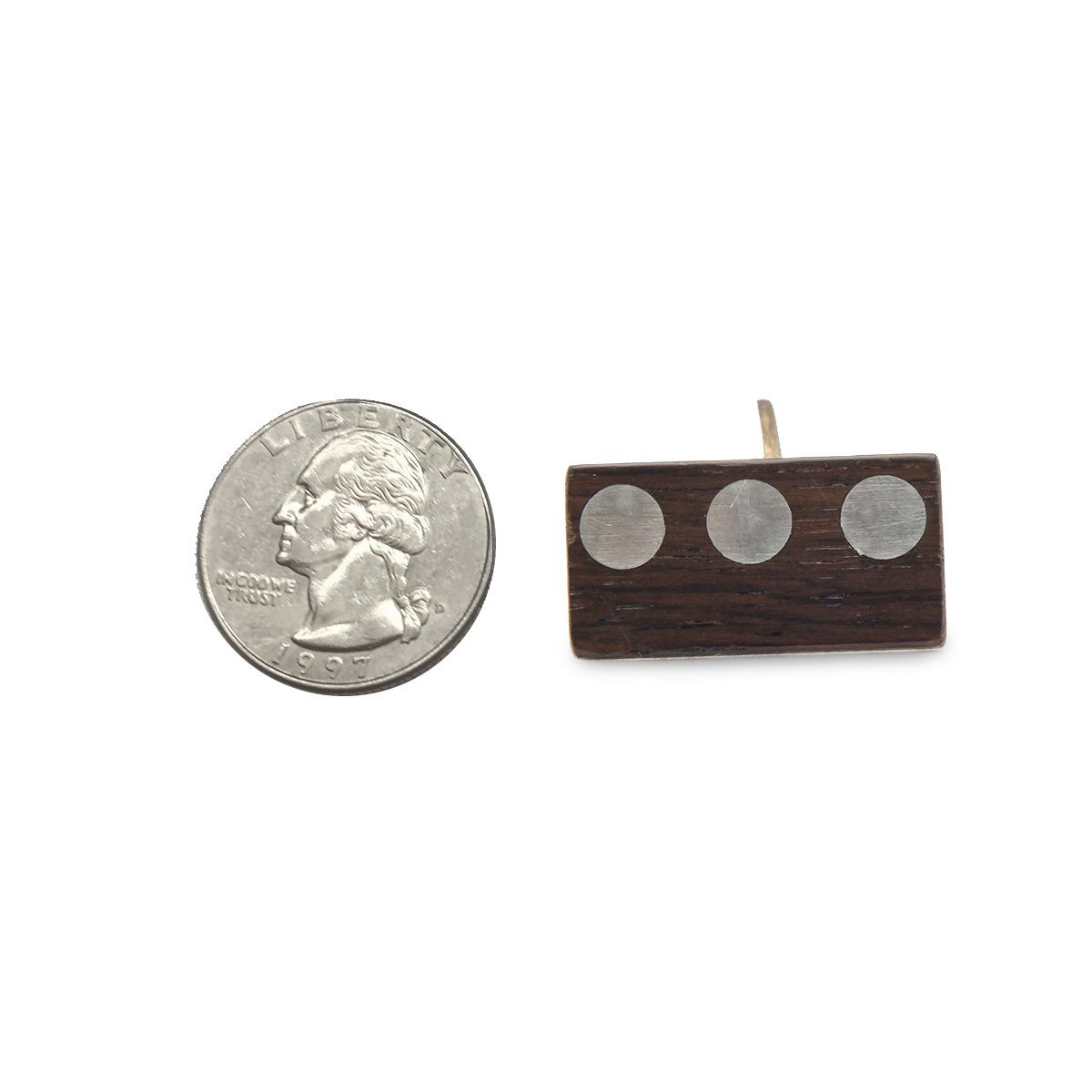 Mid Century Wood Cuff Links 5 with Metal Inlay