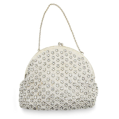 Small, white cocktail purse. Open weave fabric studded with clear, sparkling rhinestones. Gold metal chain & hardware. Kiss closure. One compartment, one small pocket. White fabric lining