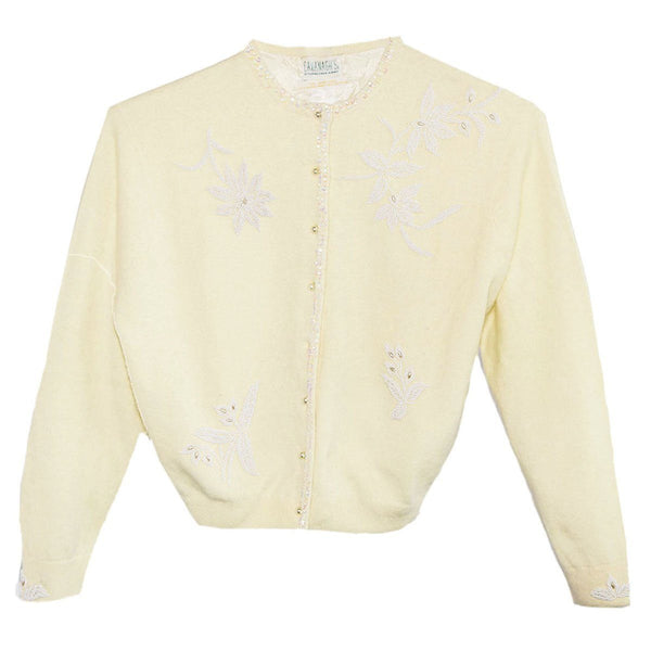 Vintage 1960s Beaded Sweater, Pale Yellow Wool & Angora, White Flower Beading