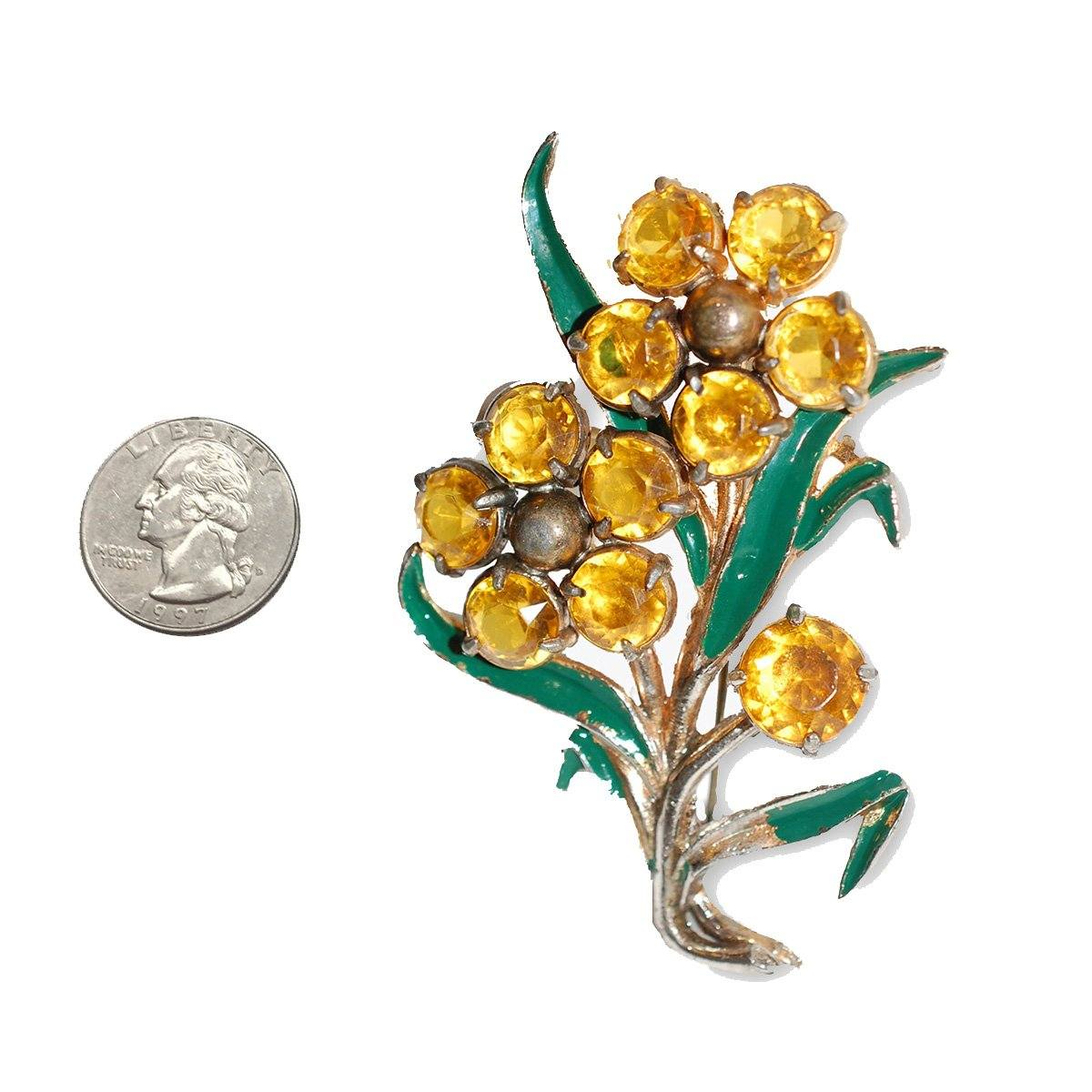 1930s Floral Brooch with Yellow Rhinestones
