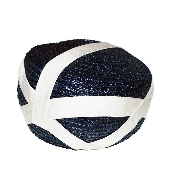 Vintage Navy Straw Bubble Toque