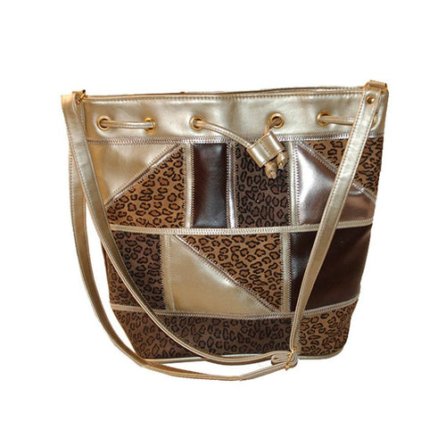 Patchwork Leopard Bucket Shoulder Bag