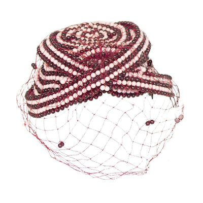 1970s Bes Ben Beaded Hat 6, Pink & Burgundy