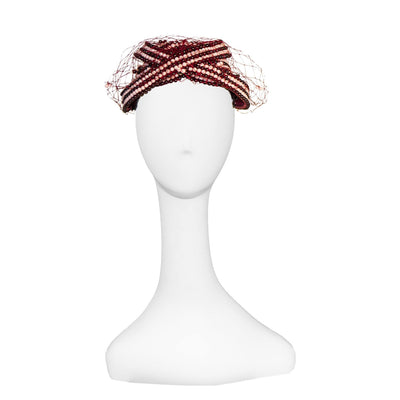 1970s Bes Ben Beaded Hat 2, Pink & Burgundy