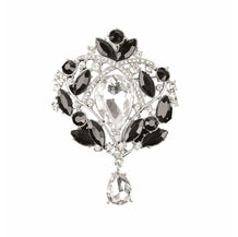 Art Nouveau Brooch, Black & Clear Rhinestones