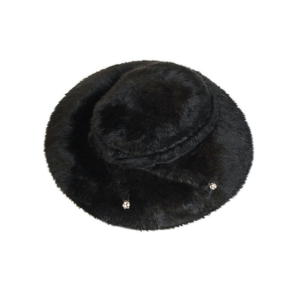 1960s Black Faux Fur Hat, Rhinestone Detail, Hat Size 21