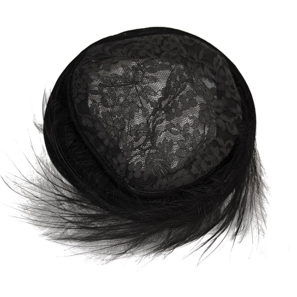 1950s Joseph Magnin Black Lace & Feather Cocktail Hat