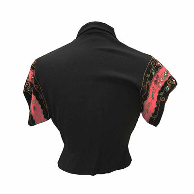 1940s Bolero Style Blouse 6 with Rhinestones in Pink & Black Silk Crepe de Chine