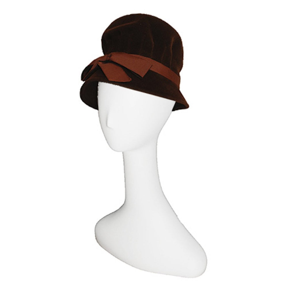 1960s Brown Velvet Tall Hat by Fashion Guild