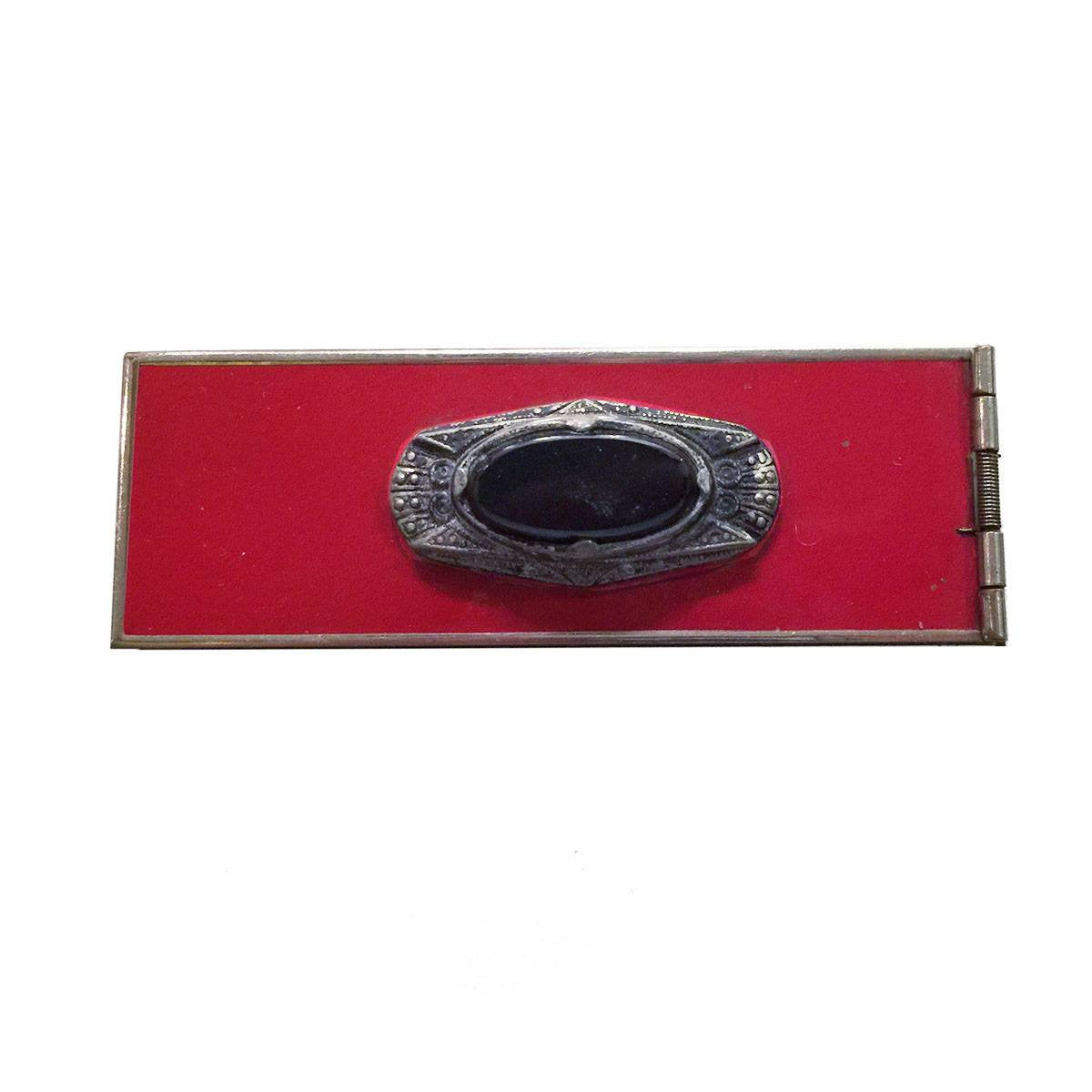 Art Deco Changette Brooch, Onyx & Red Enamel, Hidden Money Compartment