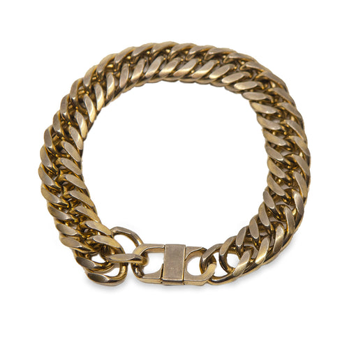 Vintage Chunky Gold Metal Curb Chain Bracelet