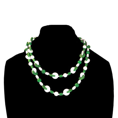Green, White Geometric Beads 2
