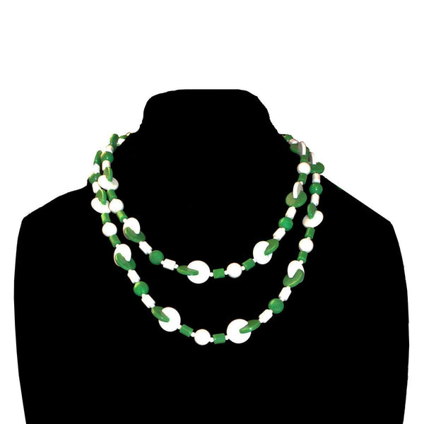 Vintage Atomic Era Geometric Necklace, Green & White Beads, 43