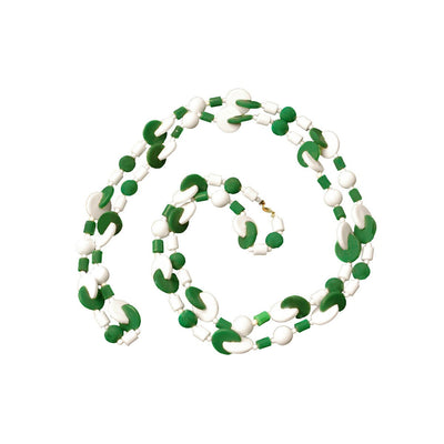 Green, White Geometric Beads