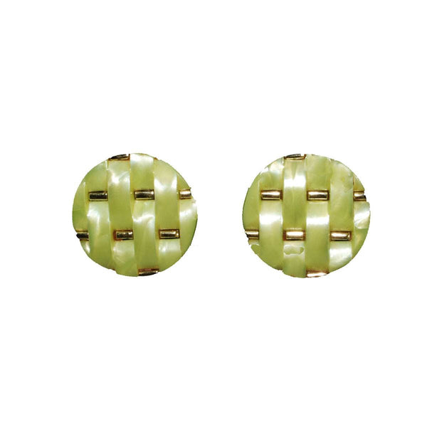 1960s Lime Green Basket Weave Earrings