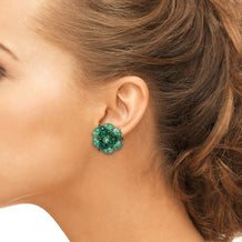 Vintage Green Cluster Bead Earrings