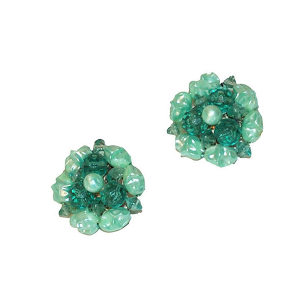 Mid Century Green Cluster Bead Earrings