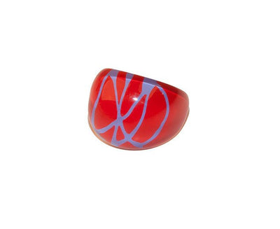 Bubble Ring, Abstract Pattern in Red & Blue, Ring Size 5 2