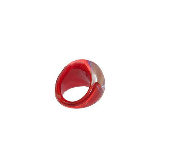 Bubble Ring, Abstract Pattern in Red & Blue, Ring Size 5 4
