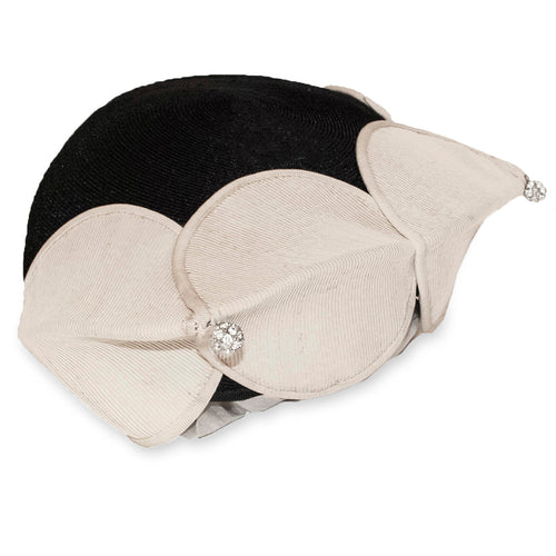 Vintage Bicorn Hat 6, Black & Cream with Rhinestones