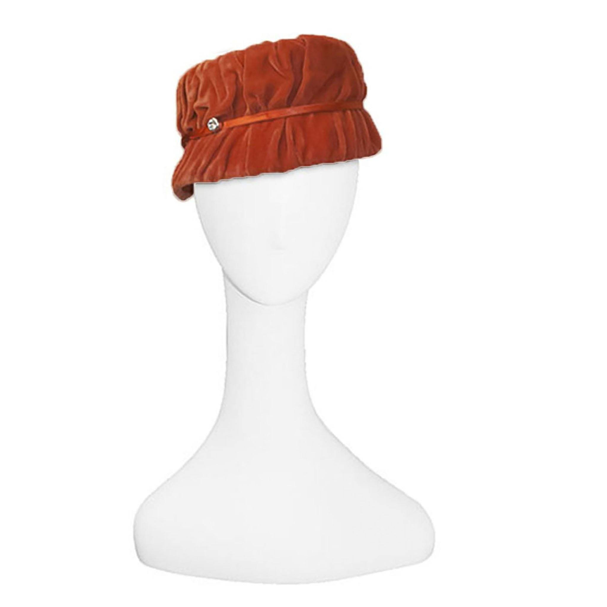 Vintage 1950s Orange Hat in Shirred Velvet, Rhinestone Trim