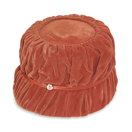 Vintage 1950s Orange Hat in Shirred Velvet, Rhinestone Trim, Hat Size 21