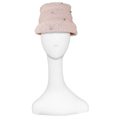 1960s Flower Pot Hat 2, Pink Crinoline & Silk Roses, Hat Size 21