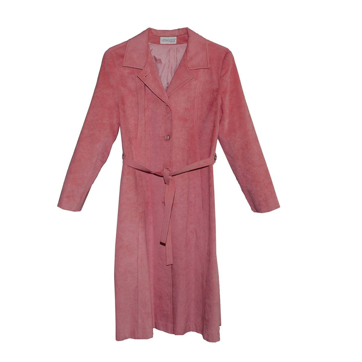 Vintage 1970s Ultrasuede Trench Coat, Salmon Pink, Matching Belt