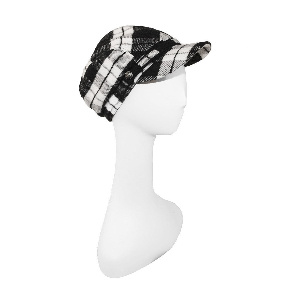 Black & White Plaid Cap by Roots, Canada