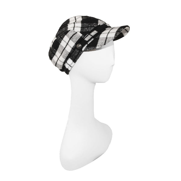 Black & White Plaid Cap by Roots, Canada, Hat Size 7⅛