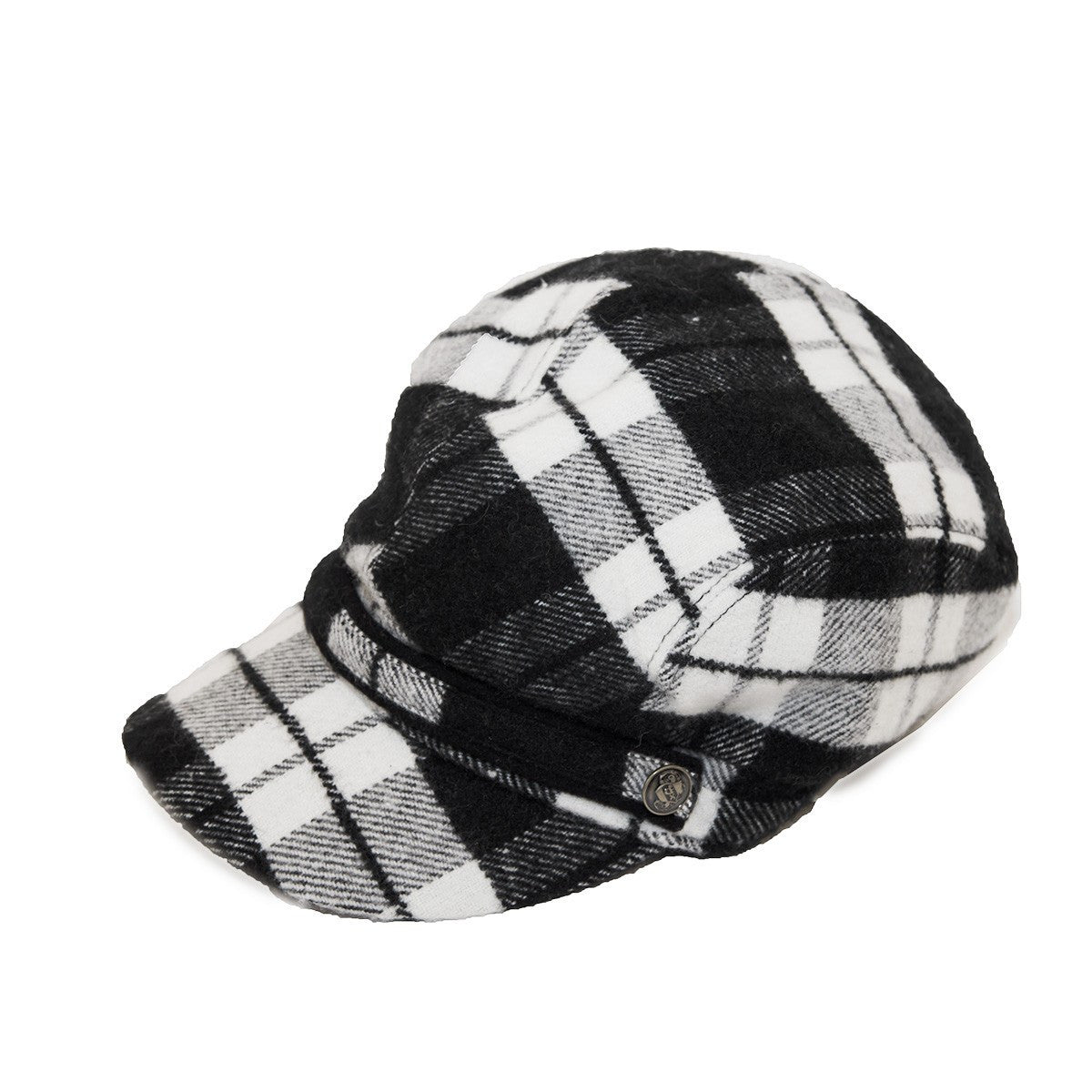 Black & White Plaid Cap by Roots, Canada, Hat Size 7 1/2