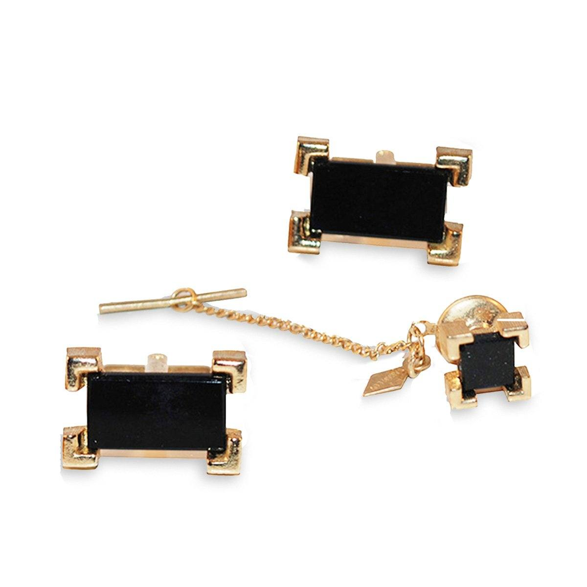 Men's Dress Set, Black Onyx Cuff Links & Tie Tac by Sarah Coventry