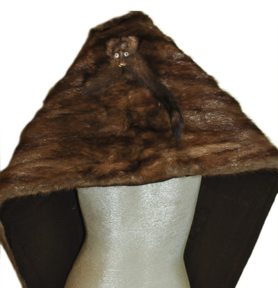1930s Wild Brown Mink Stole with Head & Tails 3
