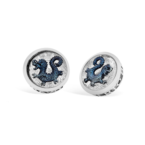 Barbados - Silver Rounded Dragon Crest Earrings - Topaz Jewelry USA - ROBERTO BRAVO