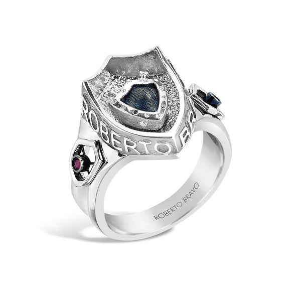 Barbados - Silver Ruby Deep-Set Crest Ring - Topaz Jewelry USA - ROBERTO BRAVO