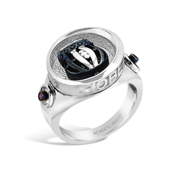 Barbados - Silver Ruby Deep-Set Rounded Crest Ring - Topaz Jewelry USA - ROBERTO BRAVO