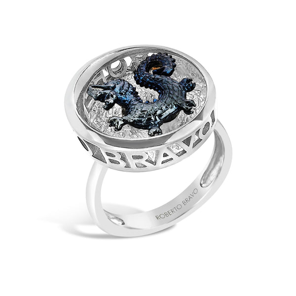 Barbados - Deep-Set Silver  Dragon Crest Ring - Topaz Jewelry USA - ROBERTO BRAVO - 1
