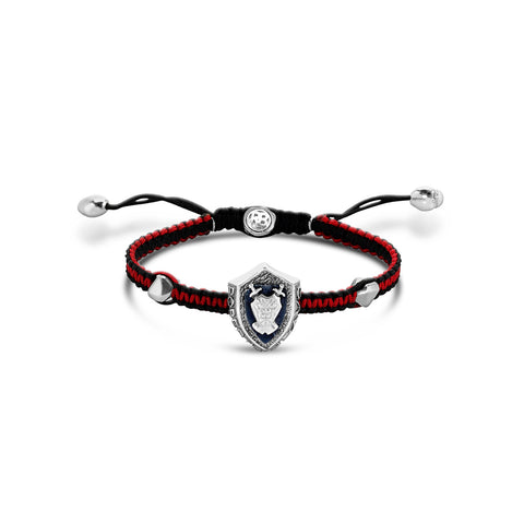 Barbados - Silver Crest Bracelet (Black and Red) - Topaz Jewelry USA - ROBERTO BRAVO