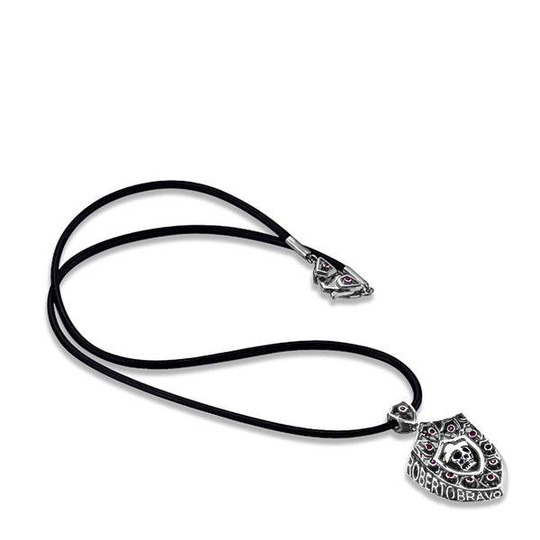 Barbados - Silver Ruby Skull Crest Necklace - Topaz Jewelry USA - ROBERTO BRAVO