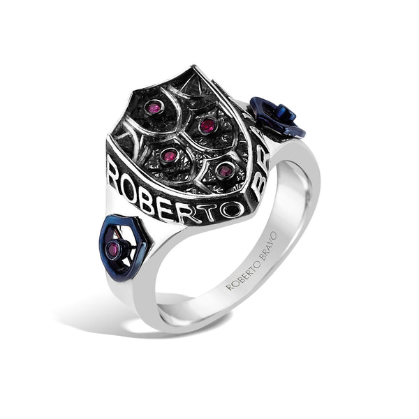 Barbados - Silver Ruby Crest Ring - Topaz Jewelry USA - ROBERTO BRAVO