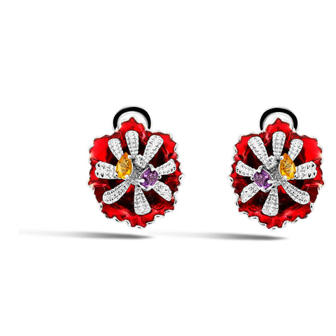 Colors - Silver Bejeweled Bloom Earrings - Topaz Jewelry USA - ROBERTO BRAVO