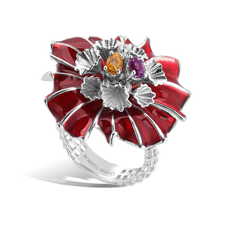 Colors - Silver Bejeweled Bloom Ring - Topaz Jewelry USA - ROBERTO BRAVO - 2