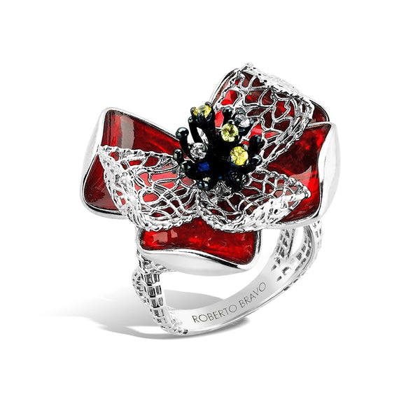 Colors - Silver Sapphire Bloom Ring - Topaz Jewelry USA - ROBERTO BRAVO