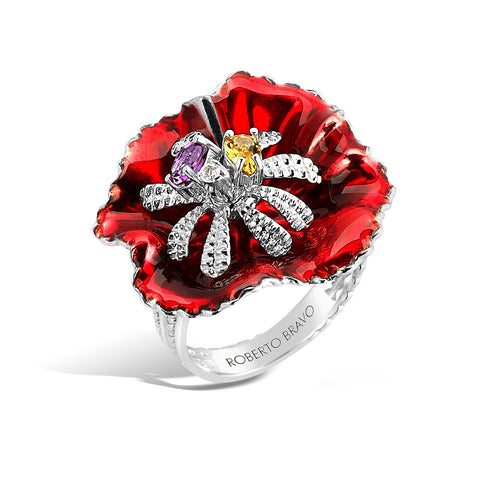 Colors - Silver Bejeweled Bloom Ring - Topaz Jewelry USA - ROBERTO BRAVO